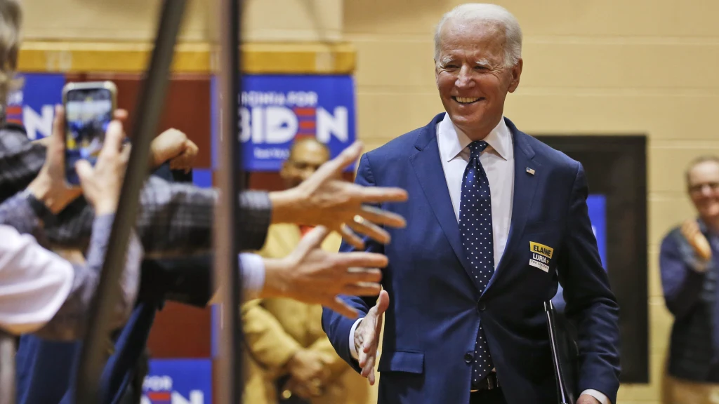 Joe Biden during a campaign rally in March.